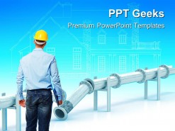 Engineer At Work Construction PowerPoint Templates And PowerPoint Backgrounds 0411