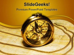 Gold Compass Science PowerPoint Template 1110
