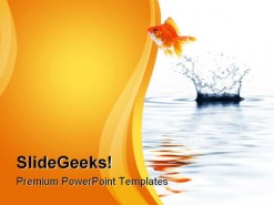 Gold Fish Jumping Business PowerPoint Template 1110