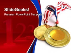 Gold Medals Sports PowerPoint Template 0610