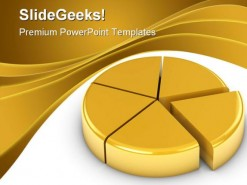 Golden Pie Chart Business PowerPoint Backgrounds And Templates 1210