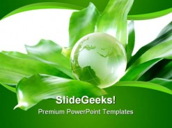 Green Globe Environment PowerPoint Template 0810