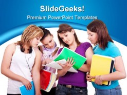 Group Of Studying Girls Education PowerPoint Template 1110