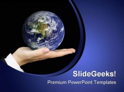Hand Holding Earth Globe PowerPoint Backgrounds And Templates 1210