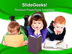 Kids Reading Books Education PowerPoint Template 1110