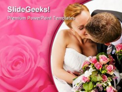 Kissing Couple Wedding PowerPoint Template 0610