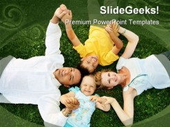 Lying On Grass Family People PowerPoint Template 0810