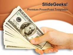 Money In Hand People PowerPoint Template 0810