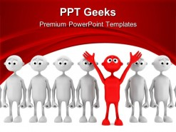 One Red Man Stand Out From Group Leadership PowerPoint Templates And PowerPoint Backgrounds 0411