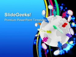 People Talk Globe PowerPoint Template 0610