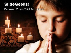Praying Child Religion PowerPoint Template 0610
