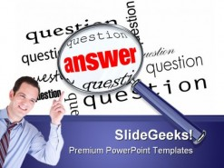 Questions And Answers Magnifier Business Template 1010