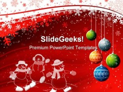 Red Background Christmas PowerPoint Template 0610
