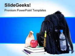 School Bag And Accessories Education PowerPoint Template 1110