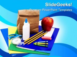 School Supplies Education PowerPoint Backgrounds And Templates 1210