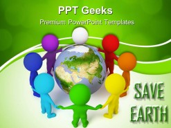 Small People Peace Globe PowerPoint Templates And PowerPoint Backgrounds 0411