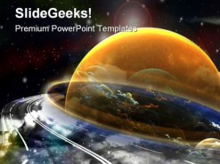 Space Route Globe PowerPoint Template 0610