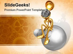 Thinker Gear People PowerPoint Template 0910