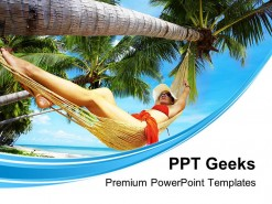 Woman In Hammock Beach PowerPoint Templates And PowerPoint Backgrounds 0411