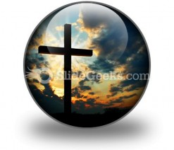 Cross At Sunset PowerPoint Icon C