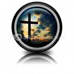 Cross At Sunset PowerPoint Icon Cc
