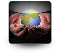 Earth In Hands PowerPoint Icon S