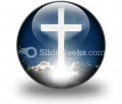 White Cross In Sky PowerPoint Icon C