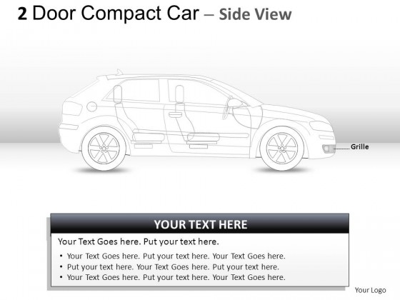2 Door Blue Compact Car Side View PowerPoint Presentation Slides