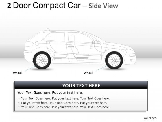 2 Door Gray Compact Car Side View PowerPoint Presentation Slides
