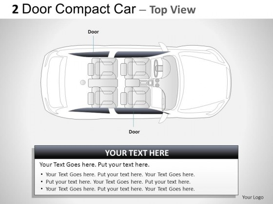 2 Door Gray Compact Car Top View PowerPoint Presentation Slides