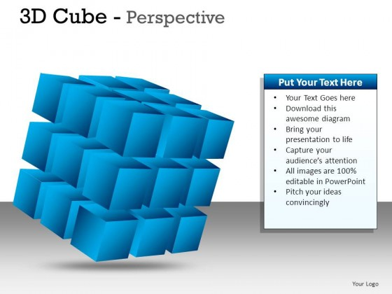 3d Cube Perspective PowerPoint Presentation Slides