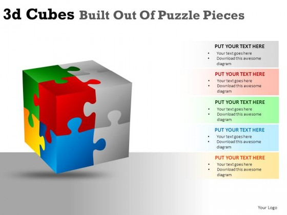 3d Cubes Built Out Of Puzzle PowerPoint Presentation Slides