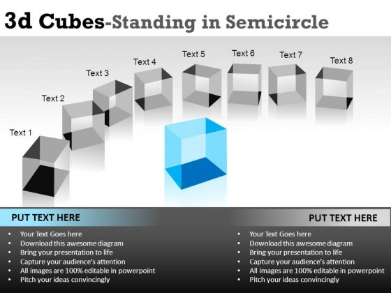 3d Cubes In Semicircle 1 PowerPoint Presentation Slides