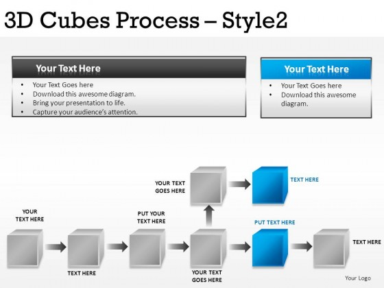 3d Cubes Process Style 2 PowerPoint Presentation Slides