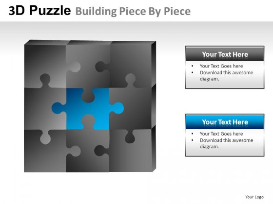 3d Puzzle Building Piece By PowerPoint Presentation Slides