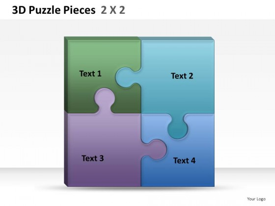 3d puzzle pieces 2x2 powerpoint presentation slides, Powerpoint templates