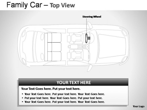 Blue Family Car Top View PowerPoint Presentation Slides