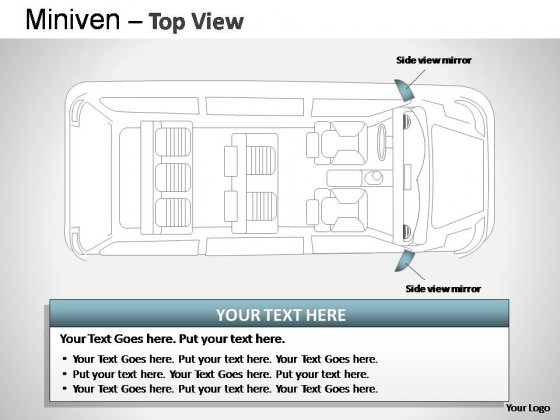 Blue Minivan Top View PowerPoint Presentation Slides