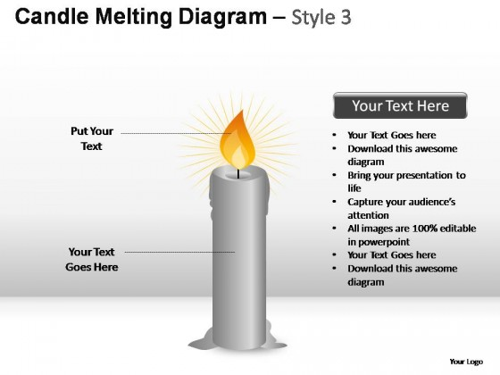 Candle Melting Diagram Style 3 PowerPoint Presentation Slides