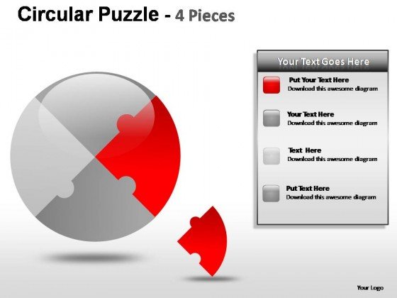 Circular Puzzle 4 Pieces PowerPoint Presentation Slides