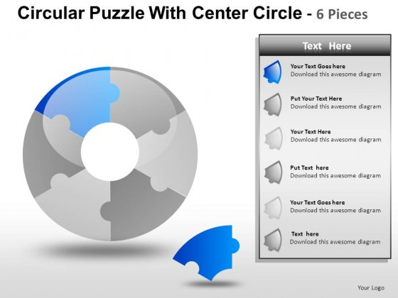 Circular Puzzle With Center 6 PowerPoint Presentation Slides