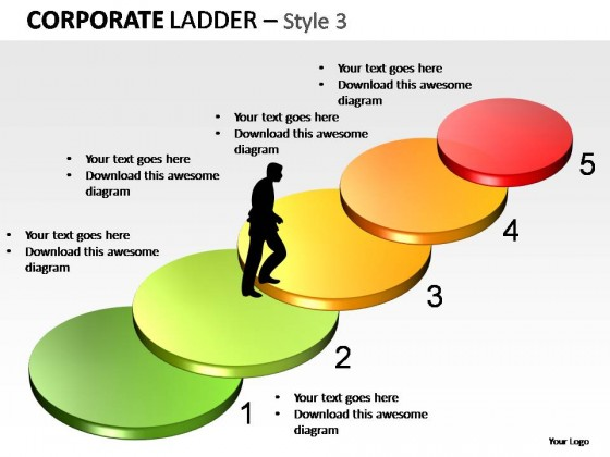 corporate ladder style 3 powerpoint presentation slides