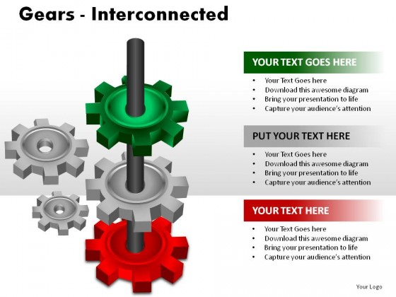 Gears Interconnected PowerPoint Presentation Slides