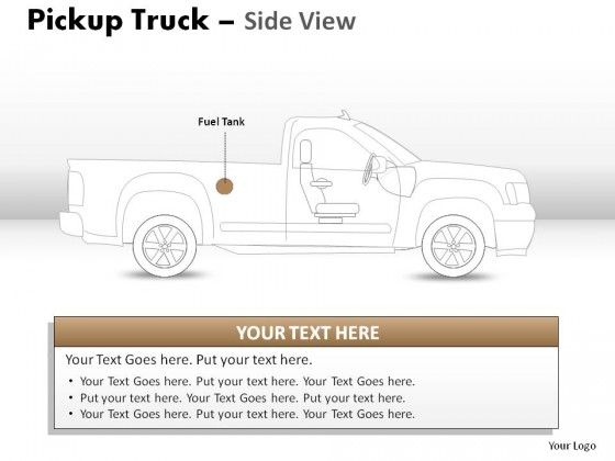 Pickup Brown Truck Side View PowerPoint Presentation Slides