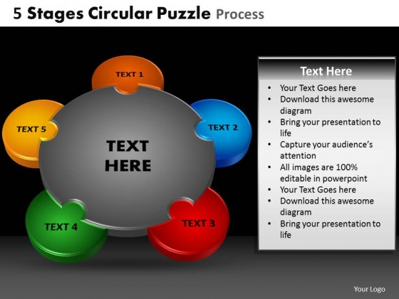 PowerPoint Template Chart Circular Puzzle Process PPT Slides