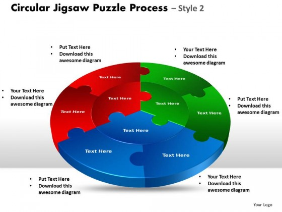 PowerPoint Template Company Circular Jigsaw Puzzle Process ...