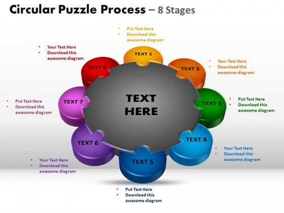 powerpoint template editable circular puzzle process ppt slides, Modern powerpoint