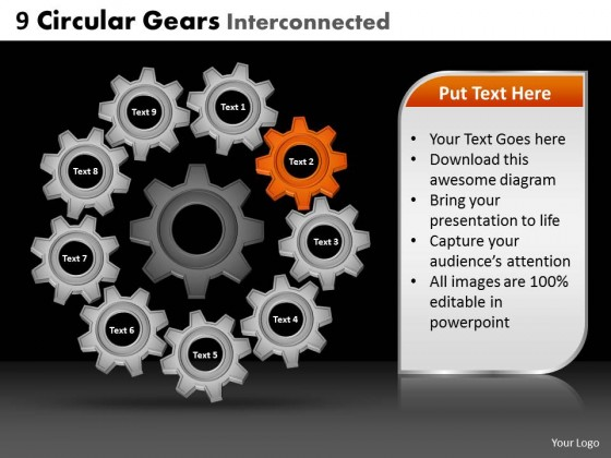 PowerPoint Template Global Circular Gears Ppt Slides