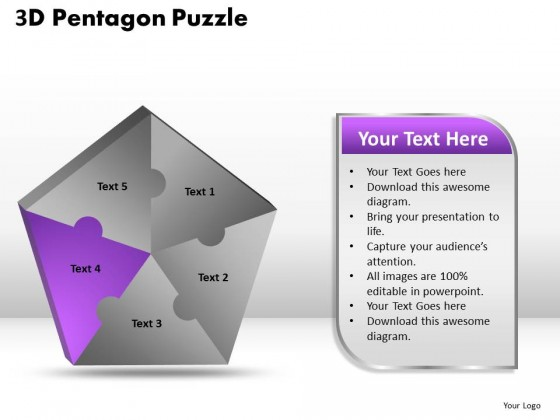 PowerPoint Template Global Pentagon Puzzle Process Ppt Slides