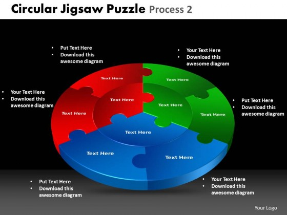 powerpoint template graphic circular jigsaw puzzle ppt slides, Modern powerpoint